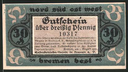 Notgeld Bremen 1921, 30 Pfennig, Hafenmotiv