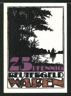 Notgeld Waren 1921, 25 Pfennig, Mann im Ruderboot, Mann mit Köcher und Fisch, Reutergeld