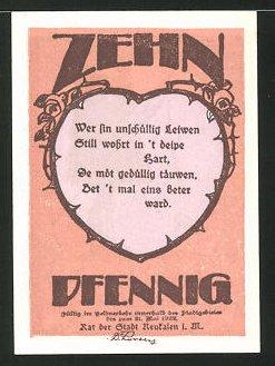 Notgeld Neukalen in Mecklenburg 1922, 10 Pfennig, Gedicht, Nachtwächter bläst das Horn, Reutergeld