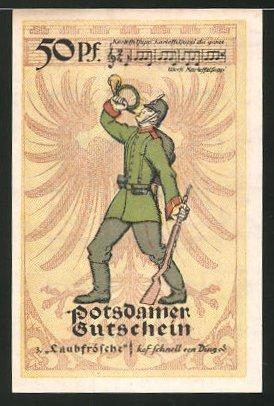 Notgeld Potsdam 1921, 50 Pfennig, Stadtwappen, Infanterist bläst das Horn