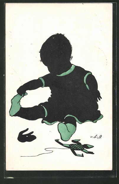 Künstler-AK Ov. Alt-Stutterheim: Kleinkind zieht sich Socken aus