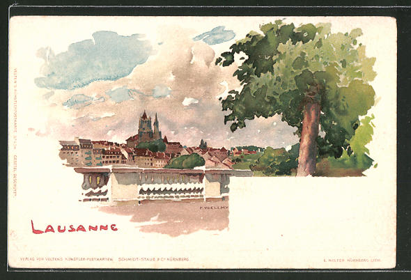 Künstler-AK Fritz Voellmy: Lausanne, Blick über die Ortschaft