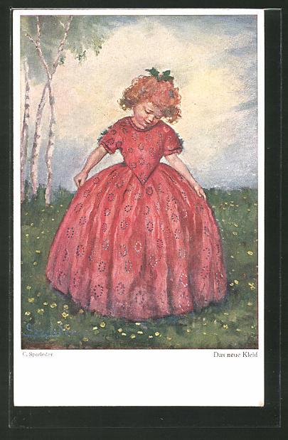 Künstler-AK C. Sporleder: Das neue Kleid, Mädchen auf Wiese