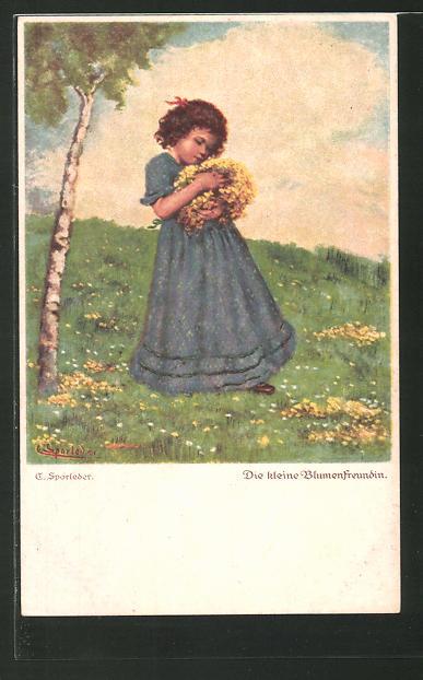 Künstler-AK C. Sporleder: Die kleine Blumenfreundin, Mädchen auf Wiese