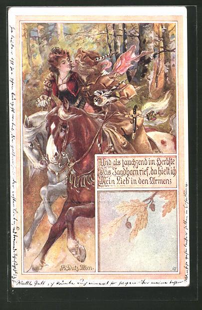 Künstler-AK Rud. Dutz: Und als jauchzend im Herbste das Jagdhorn rief..., Liebespaar zu Pferd