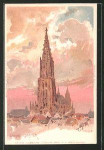 Künstler-Lithographie P. Schmohl: Ulm, Blick zum Münster