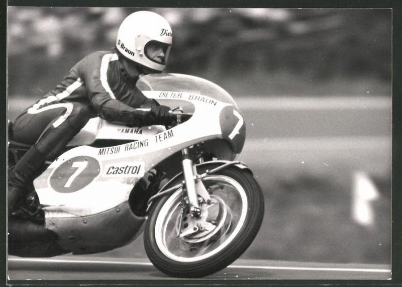 Fotografie Motorrad-Rennen, Rennfahrer Dieter Braun auf Motorrad Yamaha Startnummer 7