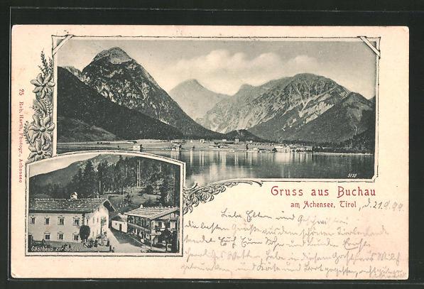 AK Buchau, Gasthaus zur Buchau, Blick vom Achensee auf den Ort