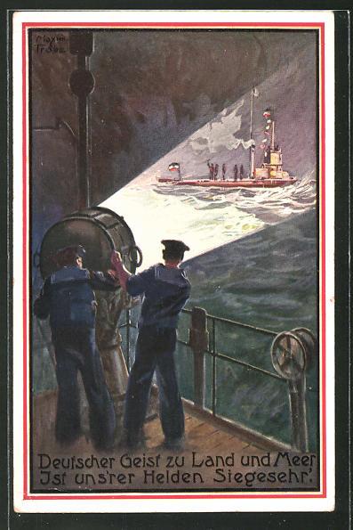 Künstler-AK Maxim Trübe: Deutscher Geist zu Land und Meer..., Kriegsschiff entdeckt U-Boot