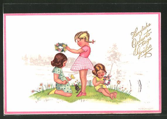 Künstler-AK Kerckhoff: Kinder flechten auf der Blumenwiese Blumenkränze
