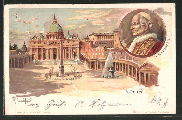 Künstler-AK Raffaele Carloforti: Roma, S. Pietro, Papst Leo XIII.