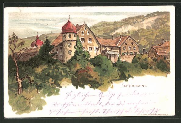 Künstler-Lithographie Carl Biese: Alt Bregenz, Panorama