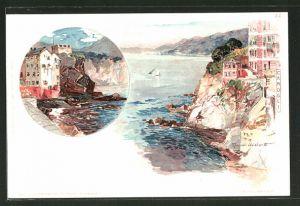 Künstler-AK Manuel Wielandt: Camogli, Häuser an der Steilküste