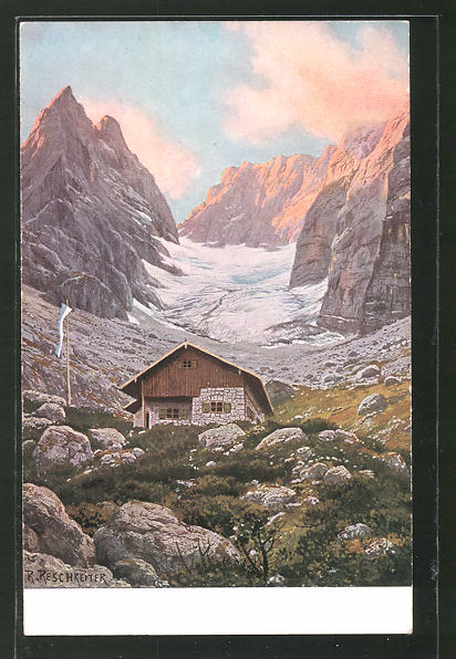 Künstler-AK Rudolf Reschreiter: Blaueishütte am Hochkalter