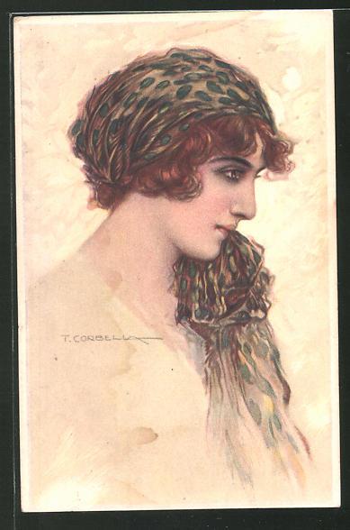 Künstler-AK Tito Corbella: Junge Frau mit Kopftuch