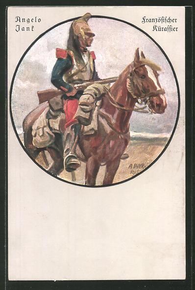 Künstler-AK Angelo Jank: Französischer Kürassier auf seinem Pferd