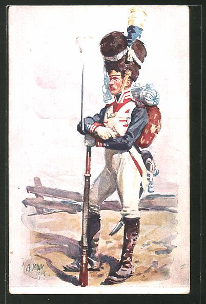 Künstler-AK Angelo Jank: Soldat des K. B. Infanterie-Leibregiments 1914