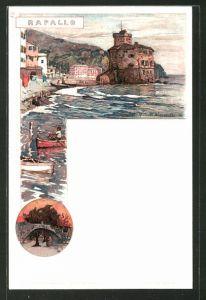 Künstler-AK Manuel Wielandt: Rapallo, Ortspartie an der Küste