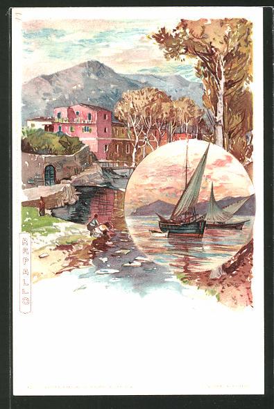Künstler-AK Manuel Wielandt: Rapallo, Fischerboote im Abendlicht, Teilansicht