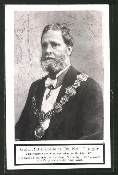 AK Portrait des Bürgermeister von Wien Carl Lueger