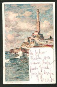 Künstler-AK Manuel Wielandt: Genova, Ortsansicht vom Meer aus