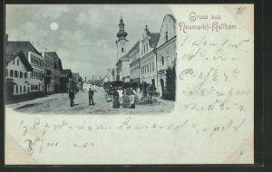 Mondschein-Lithographie Neumarkt-Kallham, Strassenpartie im Ort