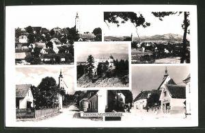 AK Preding, Schloss Hornegg, Strassenpartien mit Kirche, Ortsansicht