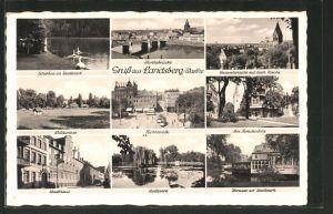AK Landsberg / Gorzow Wlkp, Stadthaus, Stadtpark, Paradeplatz, Teilansicht mit kath. Kirche