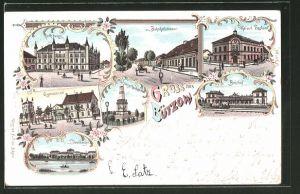 Lithographie Bützow, Bahnhof, Kaiserl. Postamt, Gymnasium, Rathaus