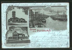 Mondschein-Lithographie Duisburg, Bahnhof, Hafen, Wasserturm auf dem Kaiserberg