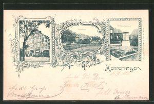 AK Hemeringen, Gasthaus von C. H. Meyer, Forsthaus, Kriegerdenkmal