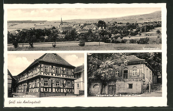 AK Amlingstadt, Totalansicht, Brauerei Dötzer, Felsenkeller der Brauerei