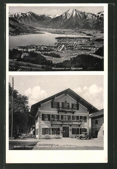 AK Gmund, Panorama mit Tegernsee, Gasthaus & Metzgerei Finsterwald