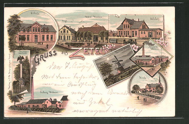 Lithographie Zetel, Hotel Hemken, Bahnhof, Meynen's Weberei, Onken's Weberei