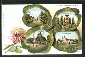 Passepartout-Lithographie Ahrensburg, Schloss, Kaiser Wilhelm-Denkmal, Hotel Schadendorff im Kleeblatt