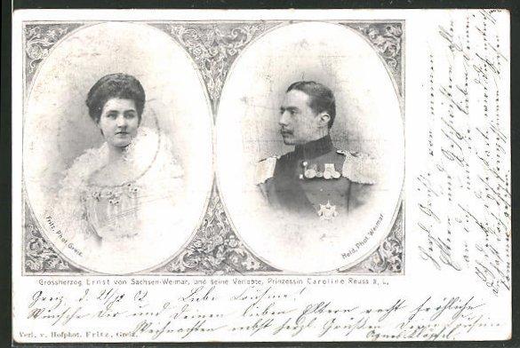 AK Grossherzog Ernst von Sachsen-Weimar-Eisenach mit seiner Verlobten Prinzessin Caroline Reuss ä. L.