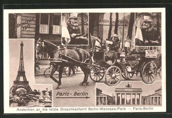 AK Berlin, Letzte Droschkenfahrt Berlin Wannsee nach Paris