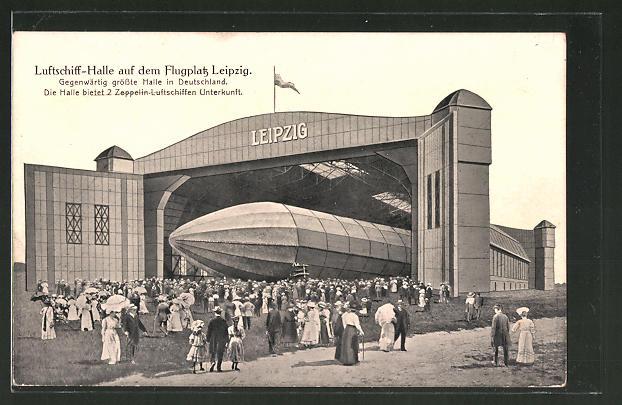 AK Leipzig, Zeppelin in der Luftschiffhalle auf dem Flugplatz