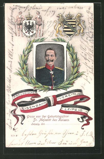 Lithographie Leipzig, Preuss. Eisenbahner-Verein, Kaiser Wilhelm II., Wappen