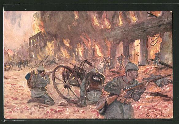 Künstler-AK Max Rabes: Soldaten beim Strassenkampf in Hohenstein