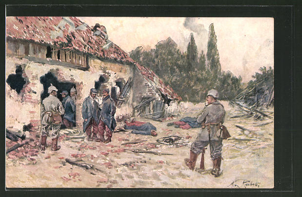 Künstler-AK Max Rabes: Soldaten durchkämmen das französische Dorf nach der Erstürmung