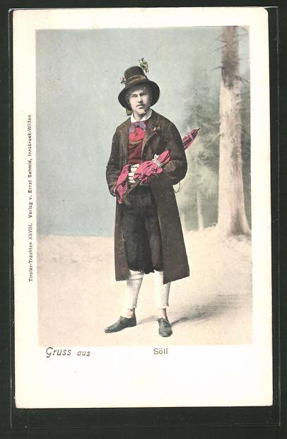 AK Tiroler mit Schirm in Tracht