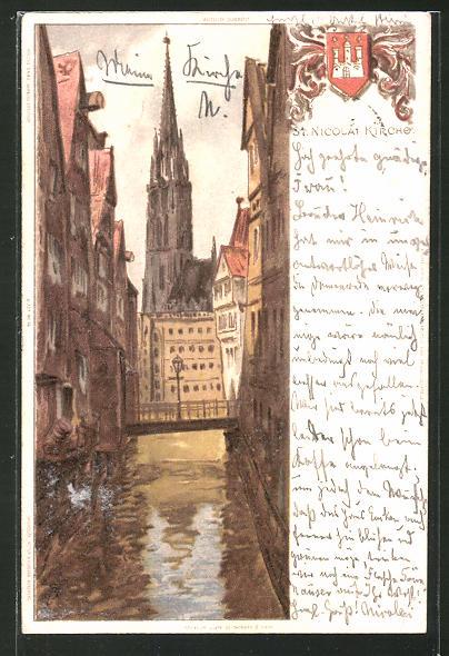 Künstler-AK Carl Biese: Hamburg, St. Nicolai Kirche und Kanalpartie