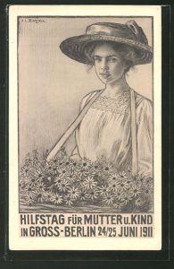 AK Hilfstag für Mutter u. Kind in Gross-Berlin 1911, Mädchen mit Bauchladen