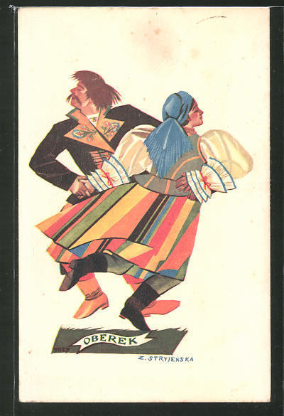 Künstler-AK Zofia Stryjenska: Oberek, Tanzendes Paar