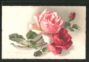 Künstler-AK Catharina Klein: zweig mit roten Rosen
