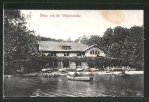 AK Gruiten, Gasthaus Winkelsmühle, Ruderboot