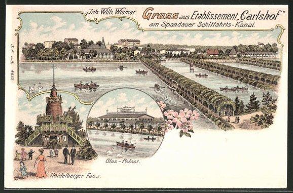 Lithographie Berlin-Charlottenburg, Glas-Palast, Heidelberger Fass, Spandauer Schifffahrts-Kanal, Carlshof