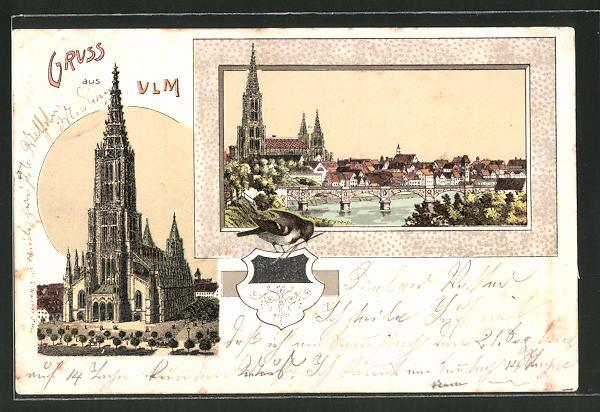 Lithographie Ulm, Ulmer Münster Frontalansicht, Ortsansicht mit Donau und Münster