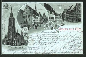 Mondschein-Lithographie Ulm, Blauansicht, Rathaus, Münster